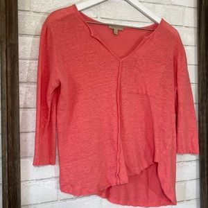 Anthropologie | Bordeaux Linen 3/4 Sleeve Top